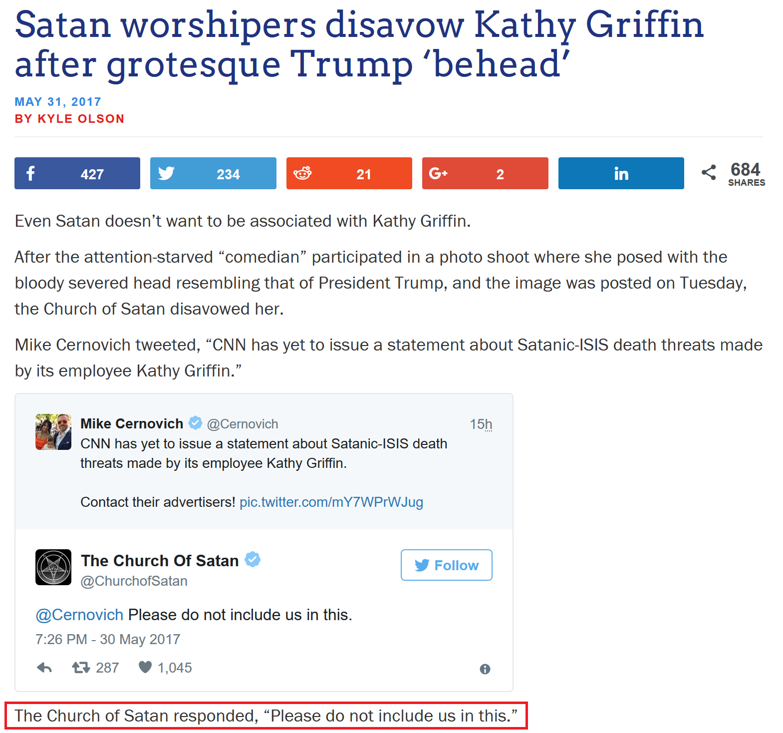 Kathy Griffin's Beheading Bit Too Much For Satan